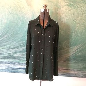 Forest green button up blouse w/ polka dot hearts